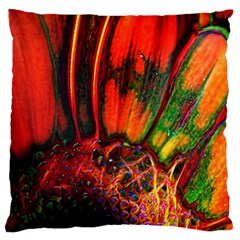 Abstract Of An Orange Gerbera Daisy Standard Flano Cushion Case (one Side) by bloomingvinedesign