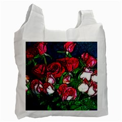 Abstract Red And White Roses Bouquet White Reusable Bag (one Side) by bloomingvinedesign