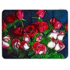 Abstract Red And White Roses Bouquet Samsung Galaxy Tab 7  P1000 Flip Case by bloomingvinedesign