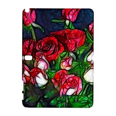 Abstract Red And White Roses Bouquet Samsung Galaxy Note 10 1 (p600) Hardshell Case by bloomingvinedesign