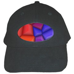 3d Colorful Shapes Black Cap by LalyLauraFLM