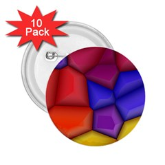 3d Colorful Shapes 2 25  Button (10 Pack) by LalyLauraFLM