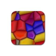 3d Colorful Shapes Rubber Coaster (square) by LalyLauraFLM