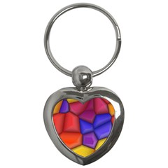 3d Colorful Shapes Key Chain (heart) by LalyLauraFLM