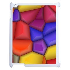 3d colorful shapes Apple iPad 2 Case (White) by LalyLauraFLM