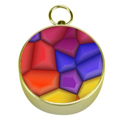 3d Colorful Shapes Gold Compass by LalyLauraFLM