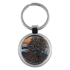Abstract Sunset Tree Key Chain (round) by bloomingvinedesign