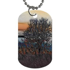 Abstract Sunset Tree Dog Tag (one Sided) by bloomingvinedesign