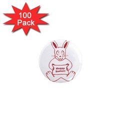Cute Bunny With Banner Drawing 1  Mini Button Magnet (100 Pack) by dflcprints