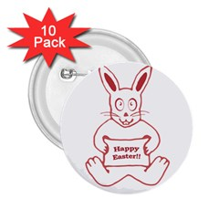 Cute Bunny With Banner Drawing 2 25  Button (10 Pack) by dflcprints