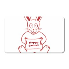 Cute Bunny With Banner Drawing Magnet (rectangular) by dflcprints