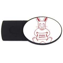 Cute Bunny With Banner Drawing 2gb Usb Flash Drive (oval) by dflcprints