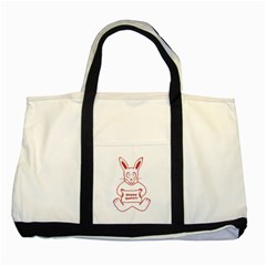 Cute Bunny With Banner Drawing Two Toned Tote Bag by dflcprints