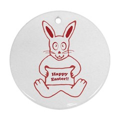Cute Bunny With Banner Drawing Round Ornament (two Sides) by dflcprints