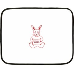 Cute Bunny With Banner Drawing Mini Fleece Blanket (two Sided) by dflcprints