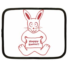 Cute Bunny With Banner Drawing Netbook Sleeve (xl) by dflcprints