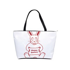 Cute Bunny With Banner Drawing Large Shoulder Bag by dflcprints