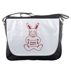 Cute Bunny With Banner Drawing Messenger Bag by dflcprints