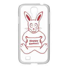 Cute Bunny With Banner Drawing Samsung Galaxy S4 I9500/ I9505 Case (white) by dflcprints
