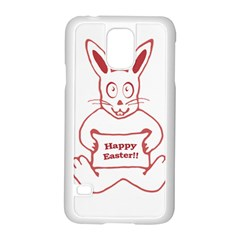 Cute Bunny With Banner Drawing Samsung Galaxy S5 Case (white) by dflcprints