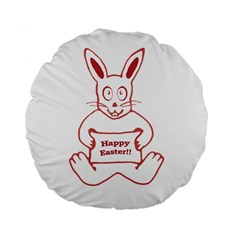 Cute Bunny With Banner Drawing 15  Premium Flano Round Cushion  by dflcprints