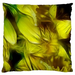 Abstract Yellow Daffodils Large Cushion Case (two Sided)  by bloomingvinedesign