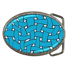 Blue Distorted Weave Belt Buckle by LalyLauraFLM