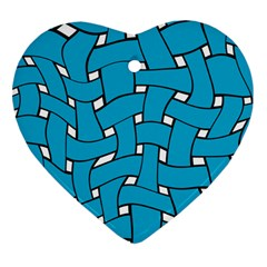 Blue Distorted Weave Heart Ornament (two Sides) by LalyLauraFLM