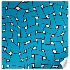 Blue Distorted Weave Canvas 20  X 20  by LalyLauraFLM