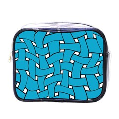 Blue Distorted Weave Mini Toiletries Bag (one Side) by LalyLauraFLM