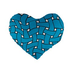 Blue Distorted Weave 16  Premium Heart Shape Cushion  by LalyLauraFLM
