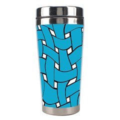 Blue Distorted Weave Stainless Steel Travel Tumbler by LalyLauraFLM