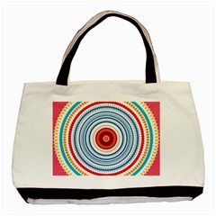 Colorful Round Kaleidoscope Basic Tote Bag (two Sides) by LalyLauraFLM
