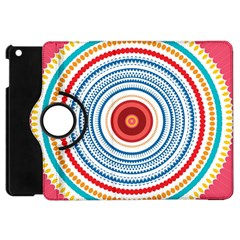Colorful Round Kaleidoscope Apple Ipad Mini Flip 360 Case by LalyLauraFLM