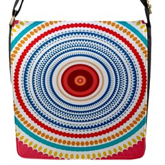 Colorful round kaleidoscope Flap Closure Messenger Bag (Small) by LalyLauraFLM
