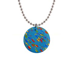 Colorful Shapes On A Blue Background 1  Button Necklace by LalyLauraFLM