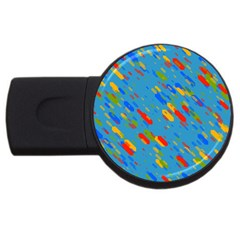 Colorful Shapes On A Blue Background Usb Flash Drive Round (4 Gb) by LalyLauraFLM