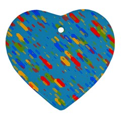 Colorful Shapes On A Blue Background Heart Ornament (two Sides) by LalyLauraFLM