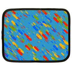 Colorful Shapes On A Blue Background Netbook Case (large) by LalyLauraFLM