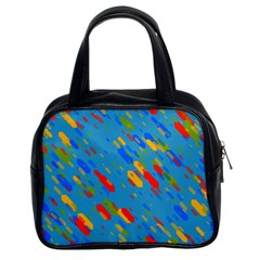 Colorful Shapes On A Blue Background Classic Handbag (two Sides) by LalyLauraFLM