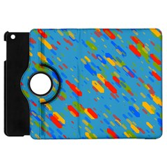 Colorful Shapes On A Blue Background Apple Ipad Mini Flip 360 Case by LalyLauraFLM