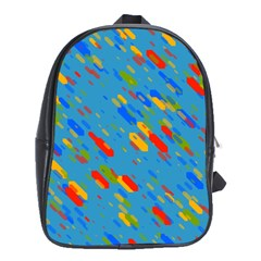 Colorful Shapes On A Blue Background School Bag (xl) by LalyLauraFLM
