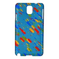 Colorful Shapes On A Blue Background Samsung Galaxy Note 3 N9005 Hardshell Case by LalyLauraFLM