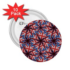 Heart Shaped England Flag Pattern Design 2 25  Button (10 Pack) by dflcprints