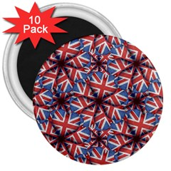 Heart Shaped England Flag Pattern Design 3  Button Magnet (10 Pack) by dflcprints