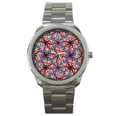 Heart Shaped England Flag Pattern Design Sport Metal Watch by dflcprints