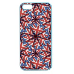 Heart Shaped England Flag Pattern Design Apple Seamless Iphone 5 Case (color) by dflcprints