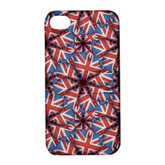 Heart Shaped England Flag Pattern Design Apple Iphone 4/4s Hardshell Case With Stand by dflcprints