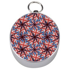 Heart Shaped England Flag Pattern Design Silver Compass by dflcprints