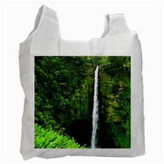 Akaka Falls White Reusable Bag (one Side) by bloomingvinedesign